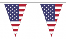United States of America USA Triangular Flag Bunting - 20m Long - 54 Flags